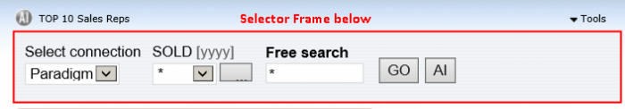 Showing the selector frame object in a displayed report.