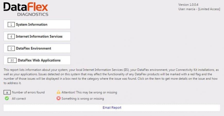 DataFlex Diagnostics Settings