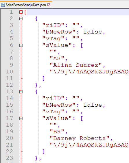 Sample data stored in JSON format
