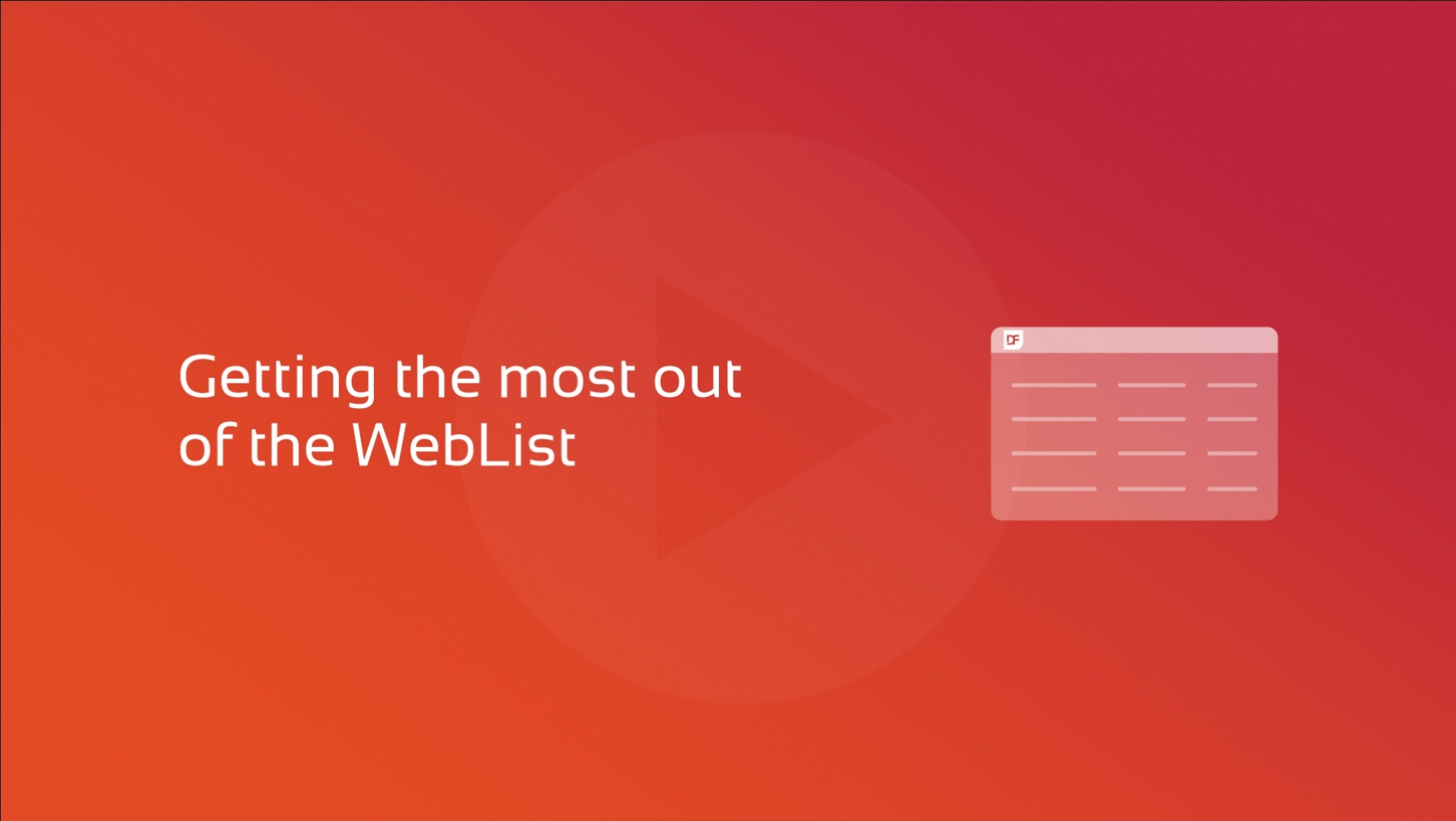 DataFlex WebList Video Course