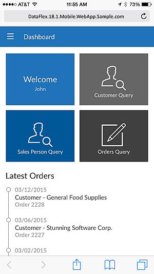 DataFlex Mobile Application Sample screenshot