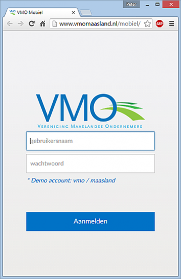 VMO login screen