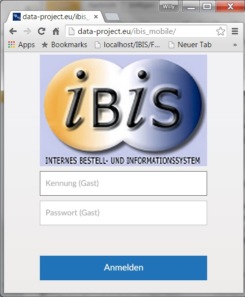 IBIS Login Screenshot