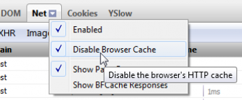 FireBug Disable Cache