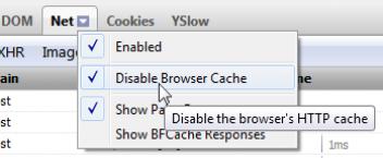 FireBug Disable Cache